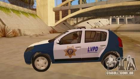 Renault Sandero Police LV para GTA San Andreas esquerda vista