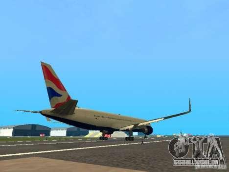 Boeing 767-300 British Airways para GTA San Andreas vista direita