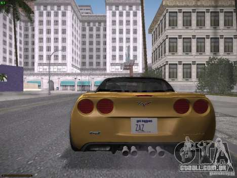 Chevrolet Corvette ZR1 para GTA San Andreas traseira esquerda vista