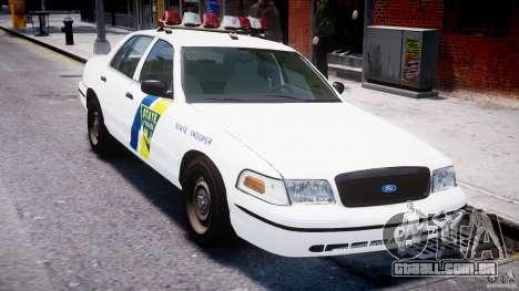 Ford Crown Victoria New Jersey State Police para GTA 4 vista inferior