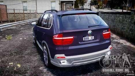 BMW X5 xDrive 4.8i 2009 v1.1 para GTA 4 traseira esquerda vista