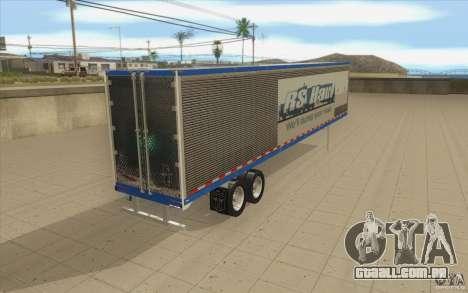 Reboque para caminhão Optimus Prime para GTA San Andreas traseira esquerda vista