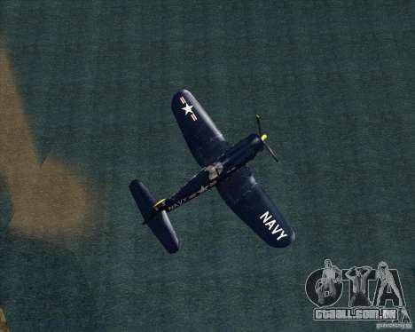 Aereo Corsair F4U1D para GTA San Andreas traseira esquerda vista