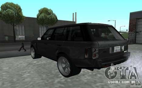 Land Rover Supercharged para GTA San Andreas traseira esquerda vista