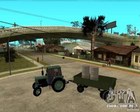Tractor Belarus 80,1 e reboque para GTA San Andreas vista interior