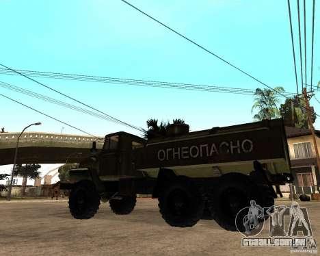 Ural 4320 caminhão para GTA San Andreas traseira esquerda vista