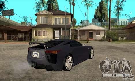 Lexus LFA 2010 v2 para GTA San Andreas vista direita