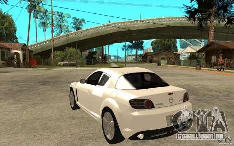 Mazda RX8 para GTA San Andreas traseira esquerda vista