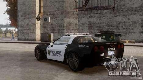 Chevrolet Corvette LCPD Pursuit Unit para GTA 4 vista lateral