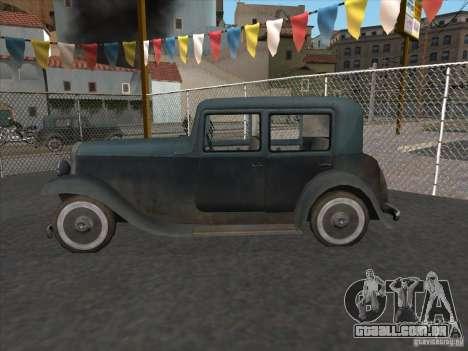 O veículo da segunda guerra mundial para GTA San Andreas esquerda vista
