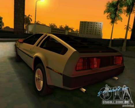 DeLorean DMC-12 V8 para GTA Vice City vista traseira