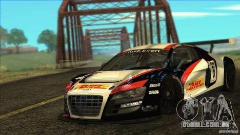 Audi R8 LMS para GTA San Andreas traseira esquerda vista
