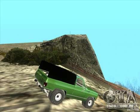 Chevrolet K5 Ute Rock Crawler para GTA San Andreas traseira esquerda vista