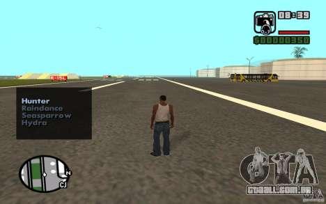 Apoio aéreo quando atacando. para GTA San Andreas