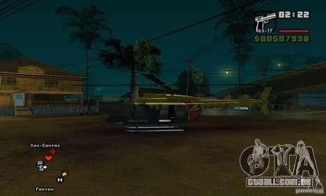 Helitour Maverick de GTA 4 para GTA San Andreas traseira esquerda vista