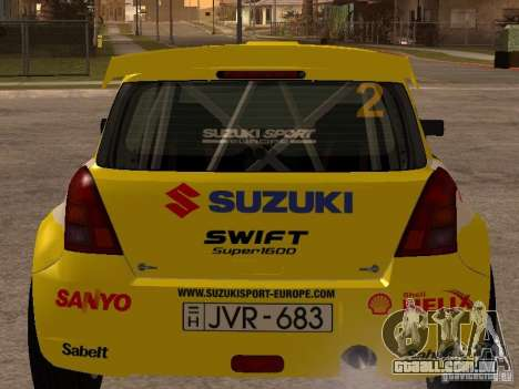 Suzuki Swift Rally para GTA San Andreas traseira esquerda vista