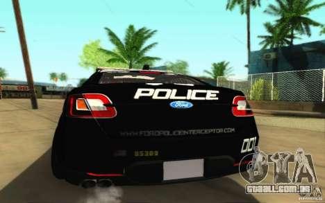 Ford Taurus 2011 LAPD Police para GTA San Andreas vista direita