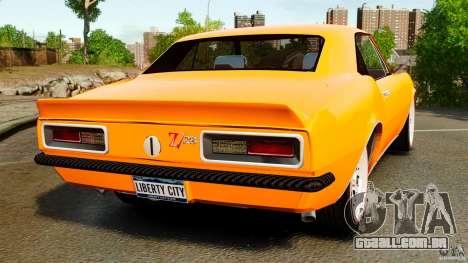 Chevrolet Camaro Z28 1969 para GTA 4 traseira esquerda vista