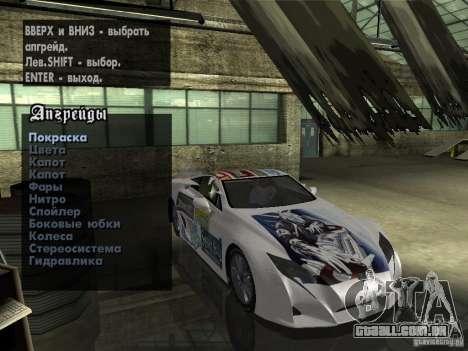Lexus LFA Custom para GTA San Andreas vista interior