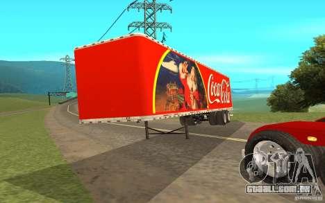 O reboque para o Peterbilt 379 personalizado Coc para GTA San Andreas traseira esquerda vista