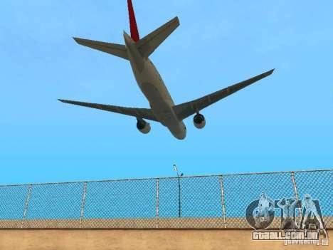Boeing 777-200 Japan Airlines para GTA San Andreas vista traseira