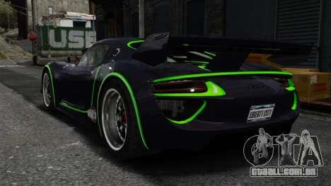 Porsche 918 RSR Concept para GTA 4 traseira esquerda vista