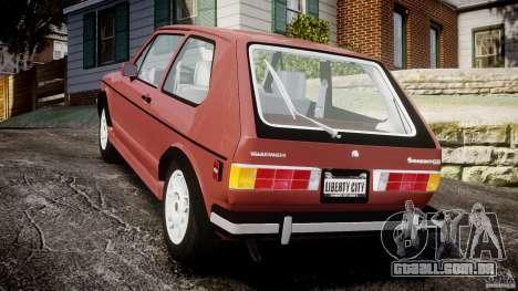 Volkswagen Rabbit 1986 para GTA 4 traseira esquerda vista