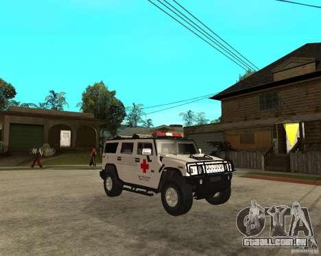 AMG H2 HUMMER - RED CROSS (ambulance) para GTA San Andreas vista direita