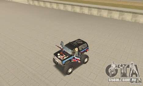 Chevrolet Blazer K5 Monster Skin 1 para GTA San Andreas vista traseira