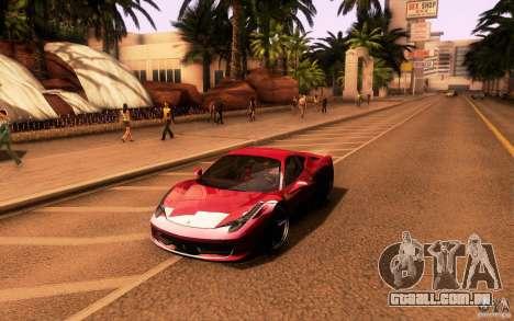 Ferrari 458 Italia Final para GTA San Andreas traseira esquerda vista