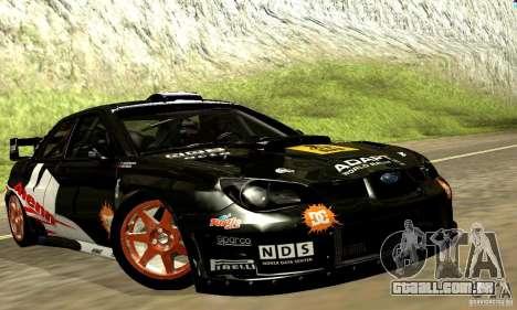 Subaru Impreza WRC 2007 para GTA San Andreas vista interior