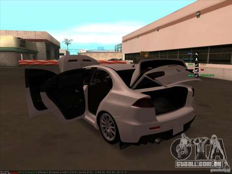 Mitsubishi Lancer Evolution X para GTA San Andreas vista inferior