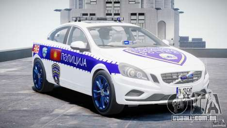 Volvo S60 Macedonian Police [ELS] para GTA 4 vista de volta