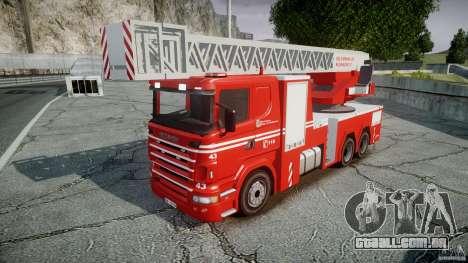 Scania Fire Ladder v1.1 Emerglights blue-red ELS para GTA 4 traseira esquerda vista