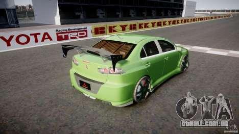 Mitsubishi Lancer Evolution X Tuning para GTA 4 traseira esquerda vista