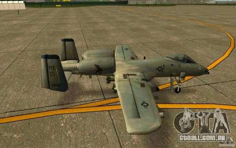 A-10 Warthog para GTA San Andreas traseira esquerda vista