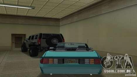 Chevrolet Camaro Convertible 1986 para GTA Vice City vista direita