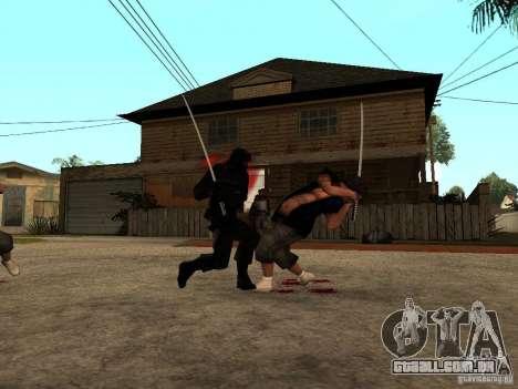 A luta com o katanas na Grove Street para GTA San Andreas por diante tela