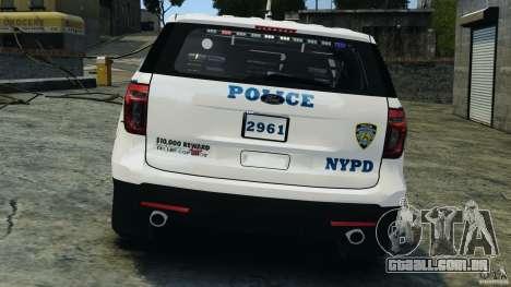 Ford Explorer NYPD ESU 2013 [ELS] para GTA 4 vista inferior