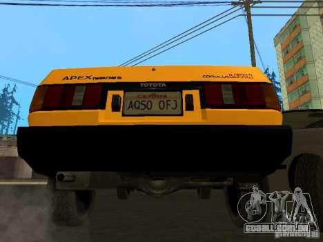 Toyota Corolla AE85 Levin GT-Apex para GTA San Andreas vista inferior