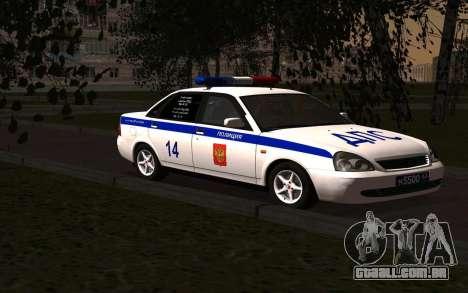 LADA 2170 polícia para GTA San Andreas vista direita