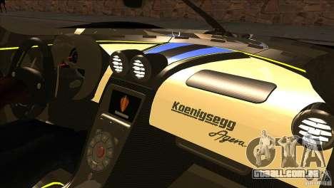 Koenigsegg Agera 2010 para GTA San Andreas vista inferior