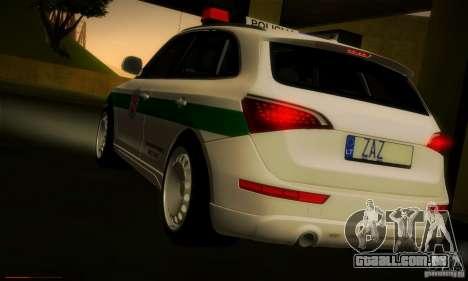 Audi Q5 TDi - Policija para GTA San Andreas traseira esquerda vista
