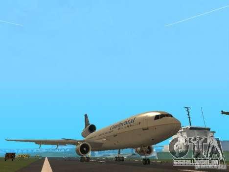 McDonell Douglas DC10 Continental Airlines para GTA San Andreas esquerda vista