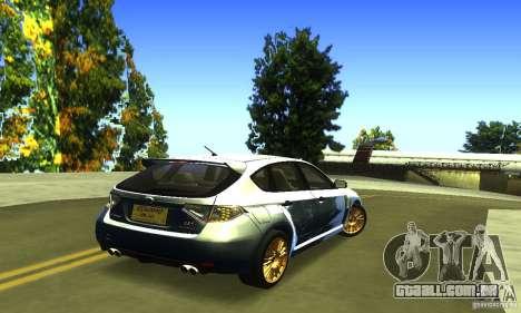Subaru Impresa WRX STI 2008 para GTA San Andreas traseira esquerda vista