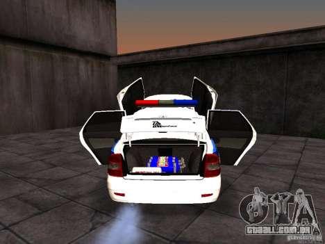 LADA 2170 polícia para GTA San Andreas vista interior