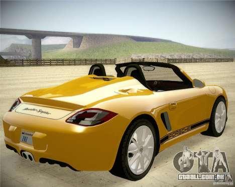 Porsche Boxter Spyder para GTA San Andreas traseira esquerda vista