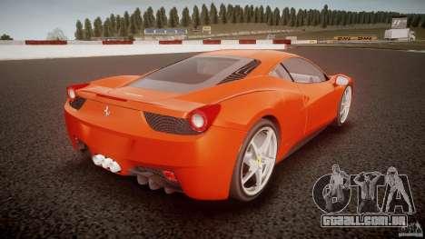 Ferrari 458 Italia 2010 para GTA 4 traseira esquerda vista