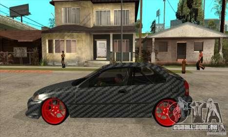Honda Civic Carbon Latvian Skin para GTA San Andreas traseira esquerda vista