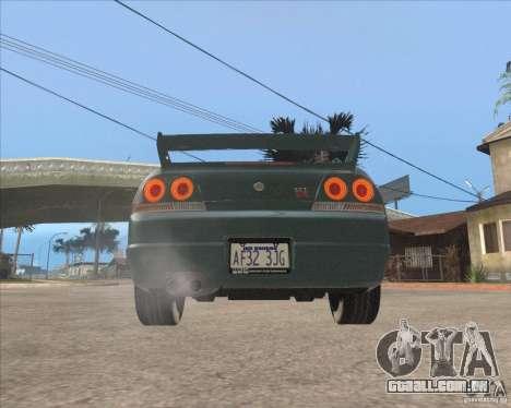 Nissan Skyline GT-R BNR33 para GTA San Andreas vista traseira